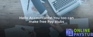 Hello Accountants You too can make free pay stubs