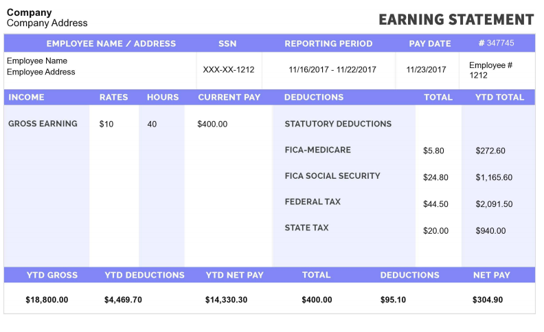 free printable pay stubs online-sample